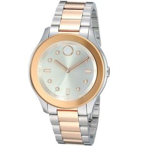 Movado Bold Silver Dial Two-tone Watch 3600430